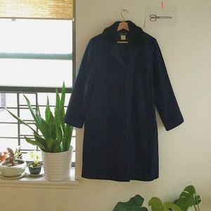 Navy mid-length winter coat, black faux fur collar